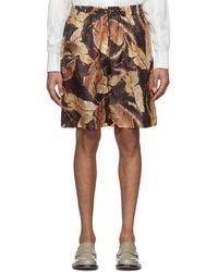 Cmmn Swdn Burgundy Leaf Cody Shorts - Multicolour