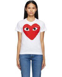 COMME DES GARÇONS PLAY ホワイト Large Double Heart T シャツ