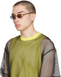 Dries Van Noten Gold Linda Farrow Edition Mirror Rectangular Sunglasses - Metallic