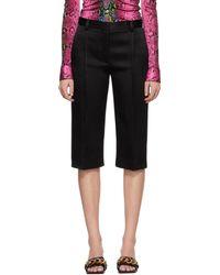 Versace Black Satin Cropped Pants