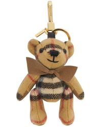 Burberry Beige Cashmere Vintage Check Thomas Bear Keychain - Natural