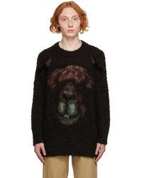 Doublet Black Knit Bear Jacquard Sweatshirt
