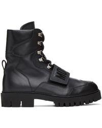 Moschino ブラック ロゴ ストラップ ブーツ