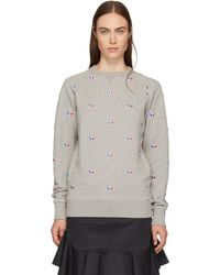 Maison Kitsuné - Grey All-over Tricolor Fox Sweatshirt - Lyst