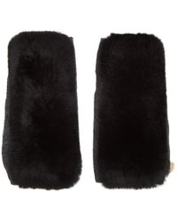 Yves Salomon - Black And Grey Fur Handwarmer Gloves - Lyst