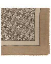 Burberry - タン カシミア モノグラム スカーフ - Lyst