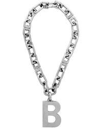 Balenciaga Silver B Necklace - Metallic
