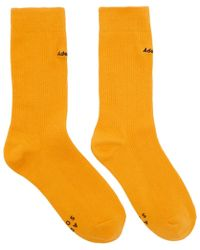ADER error - Yellow Embroidered Logo Socks - Lyst