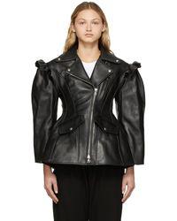 Simone Rocha Leather Sculpted Biker Detail Jacket - Black