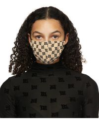 MISBHV ベージュ モノグラム フェイス マスク - ブラック