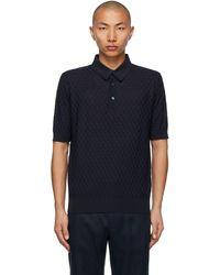 Dolce & Gabbana ネイビー シルク ポロシャツ - ブルー