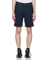 Diesel Black Gold Navy Denim Paint Splatter Shorts - Blue