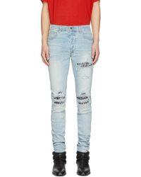Amiri Blue Animal Print Mx1 Jeans
