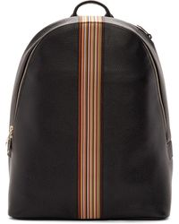 Paul Smith Black Leather Signature Stripe Backpack