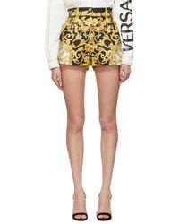 Versace - High Waisted Baroque Print Silk Shorts - Lyst