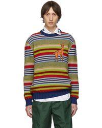 Gucci Multicolour Deer Sweater - Blue