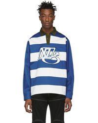 Xander Zhou - Blue Striped Rugby Polo - Lyst