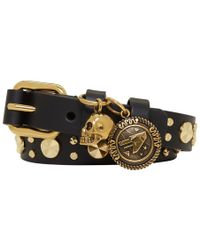Alexander McQueen - Black Studded Skull Double Wrap Bracelet - Lyst
