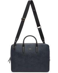 Smythson Navy Panama Slim Lightweight Briefcase - Blue
