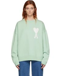 AMI Green Oversized Ami De Coeur Sweater