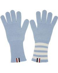 Thom Browne - Blue Rib Cashmere Four Bar Gloves - Lyst