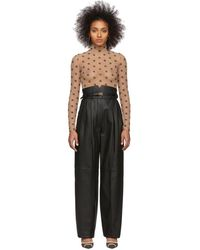 Fendi Black Leather High-waisted Belted Pants