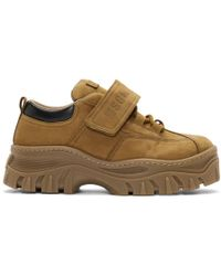 MSGM - Tan Suede Strap Chunky Double Sole Trainers - Lyst