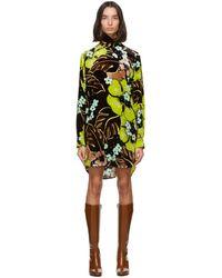 Dries Van Noten Brown Velvet Floral Short Dress - Yellow