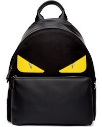 Fendi Sac a dos noir et jaune Bag Bugs