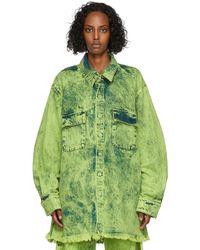 Marques'Almeida Blouson jaune en denim à motif tie-dye - Vert