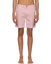 Onia - Orange And White Striped Calder Swim Shorts - Lyst