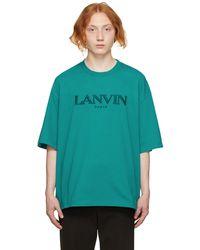 Lanvin グリーン Embroidered ロゴ T シャツ