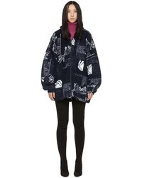 Balenciaga White And Navy Oversized Abstract Spiral Zip-up Jumper