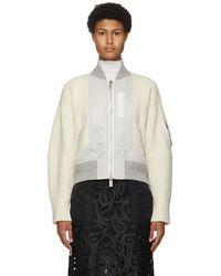 Sacai - オフホワイト ナイロン & ウール ボンバー セーター - Lyst