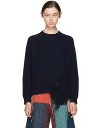 Stella McCartney - Navy Fringed Crewneck Sweater - Lyst