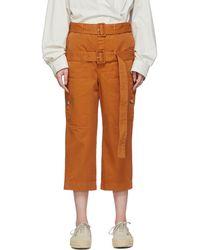 Lanvin Pantalon écourté orange Double-Belt