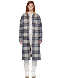 Étoile Isabel Marant Manteau a carreaux blanc casse Gabrion Blanket - Multicolore
