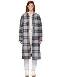 Étoile Isabel Marant Off-white Plaid Gabrion Blanket Coat - Multicolor