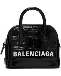Balenciaga - ブラック クロコ ミニ Ville バッグ - Lyst