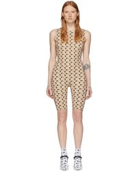 Marine Serre Ssense Exclusive Tan All Over 3d Moon Catsuit - Multicolour