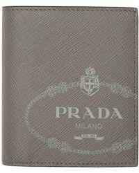 Prada - グレー サフィアーノ バイフォールド ウォレット - Lyst