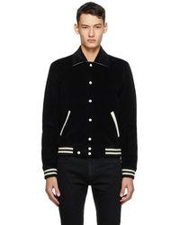Saint Laurent Teddy Leather-Trimmed Wool Varsity Jacket  - Black