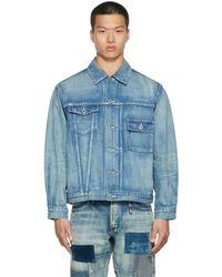 FDMTL Blue Denim Asymmetrical Jacket