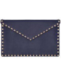 Valentino - Navy Garavani Rockstud Envelope Pouch - Lyst