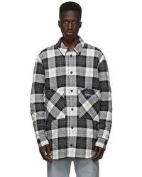 Marcelo Burlon ホワイト & ブラック Check ロゴ パファー ジャケット