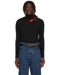 Y. Project ブラック & レッド ロング スリーブ ニット ポロシャツ