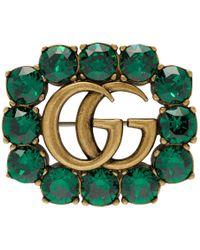 Gucci Broche doree et verte Marmont Gem