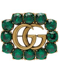 Gucci Gold And Green Marmont Gem Brooch