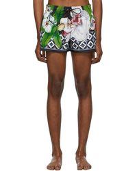 Dolce & Gabbana ブラック フラワー スイム ショーツ - マルチカラー
