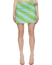 Maisie Wilen Blue And Green Ruched Miniskirt